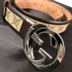 1b53d454b28 ... White Sunglasses Gucci GG Brown Belt ...